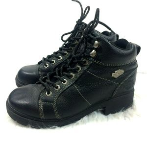 Harley Davidson Black Leather Tyler Lace Up Boots